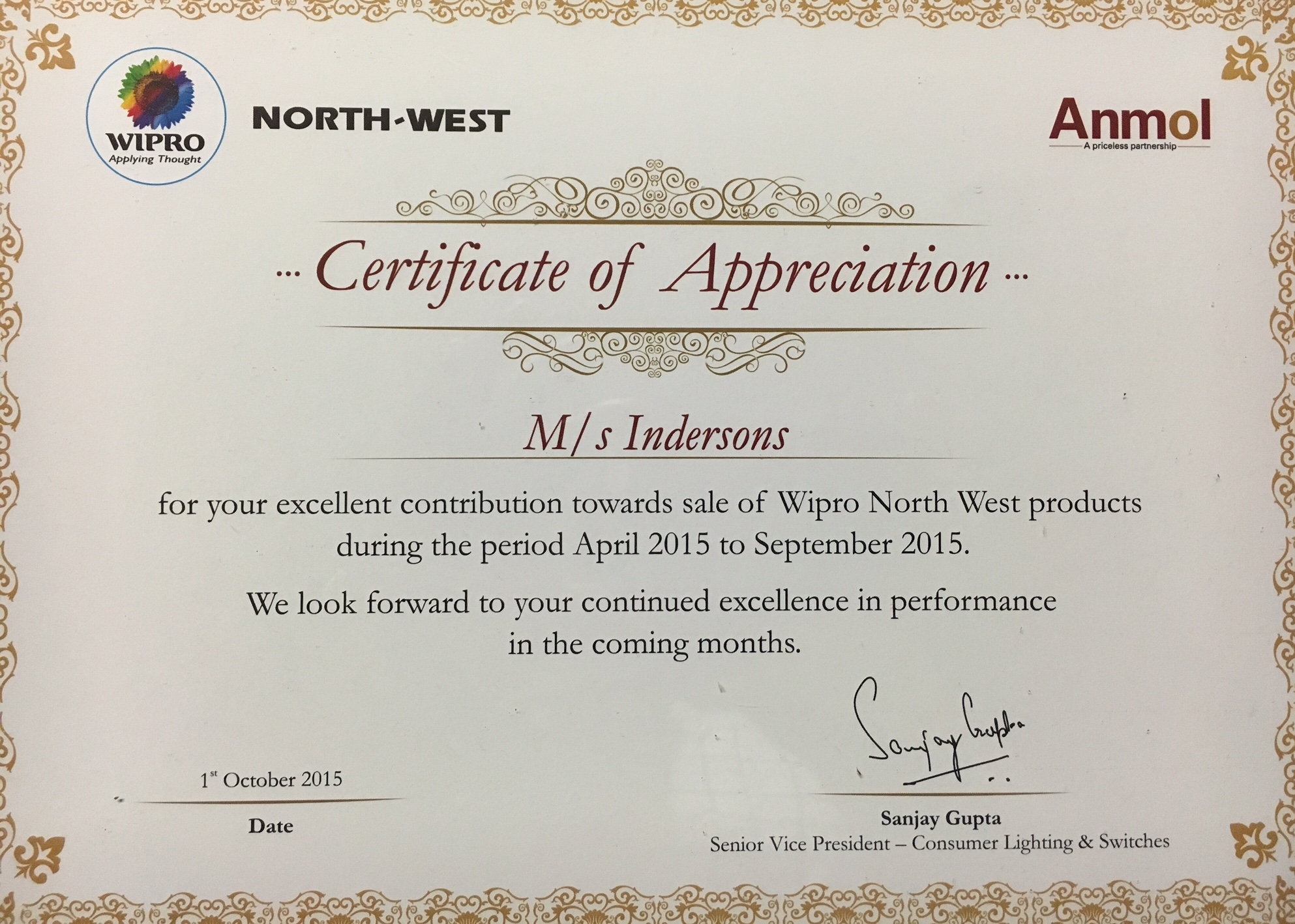 North-West Wipro Appreciation Letter - Oct2015